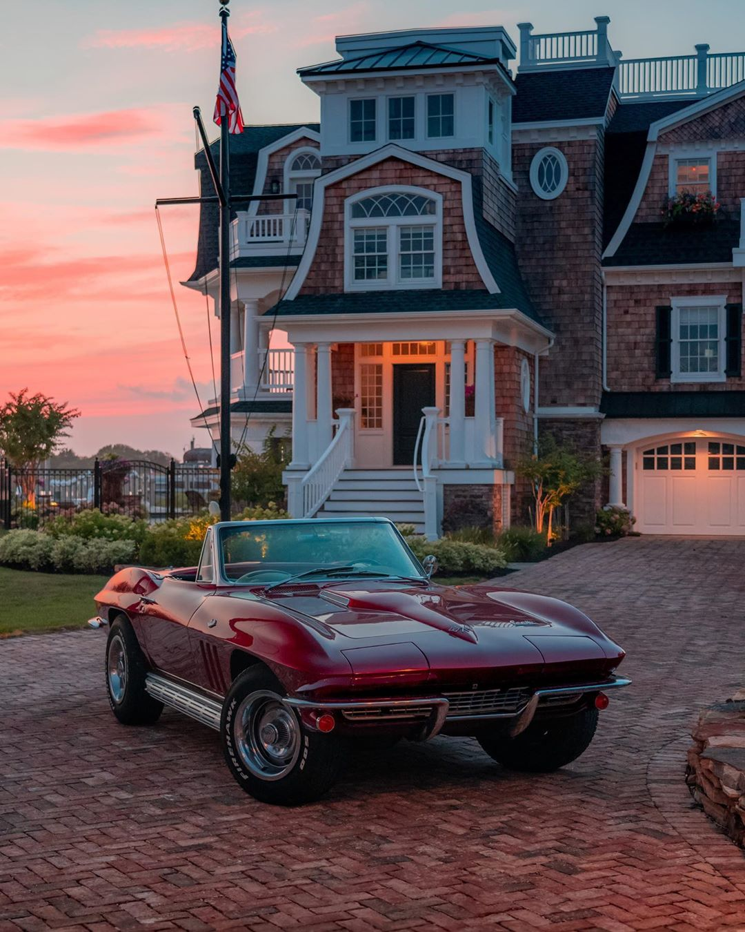 A classic convertible Corvette seems like the prefect car to take out on a night…