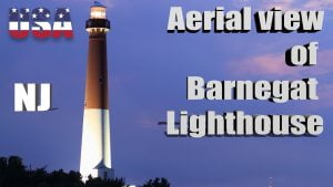 Aerial view of Barnegat Lighthouse, North end of Long Beach Island, NJ