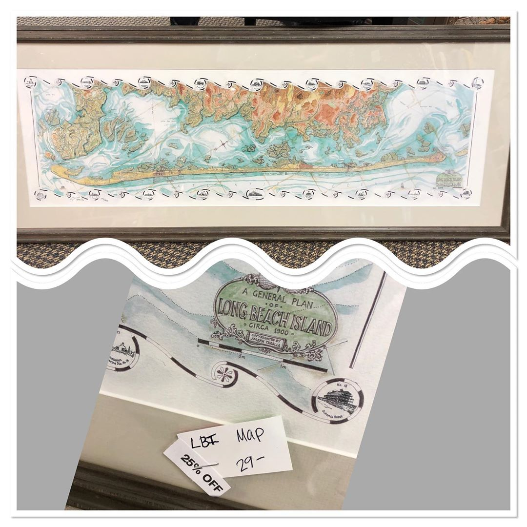 Available in store!  Professionally framed print of map of Long Beach Island, Ne…