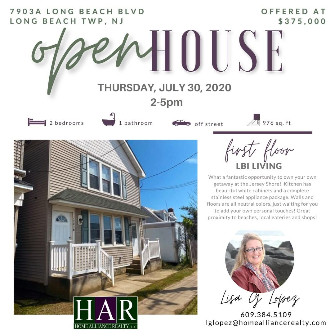 First Floor Unit For SALE on LBI!!! Stop in Thursday, July 30, 2020, from 2-5 PM…