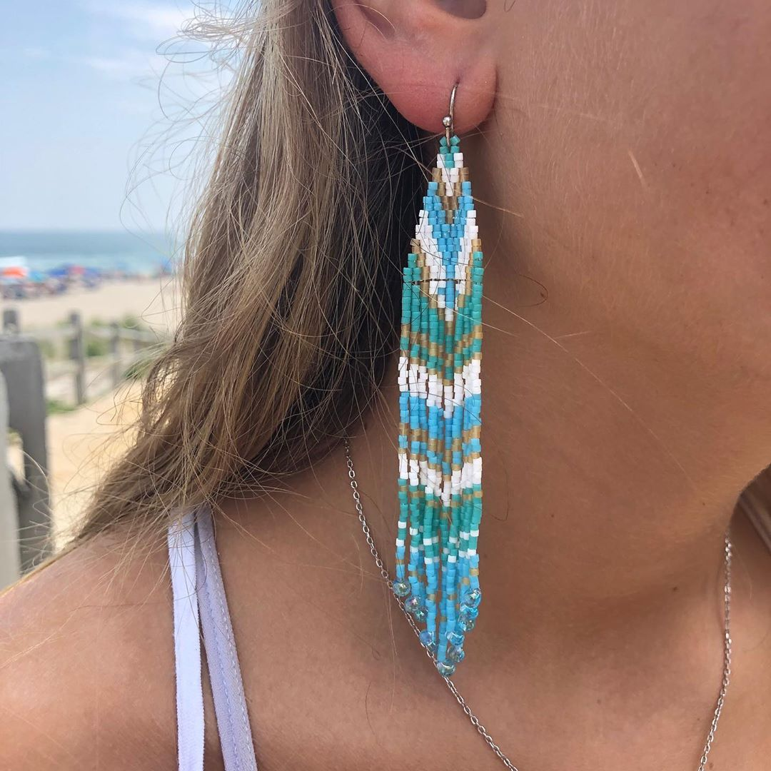 Hand beaded ombré woven earrings.  Make a statement with theses One of a kind ea…