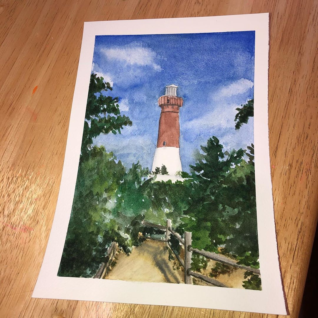 Let's go to the beach!  #vacation #lighthouse #watercolor  #watercolor_art #wate…