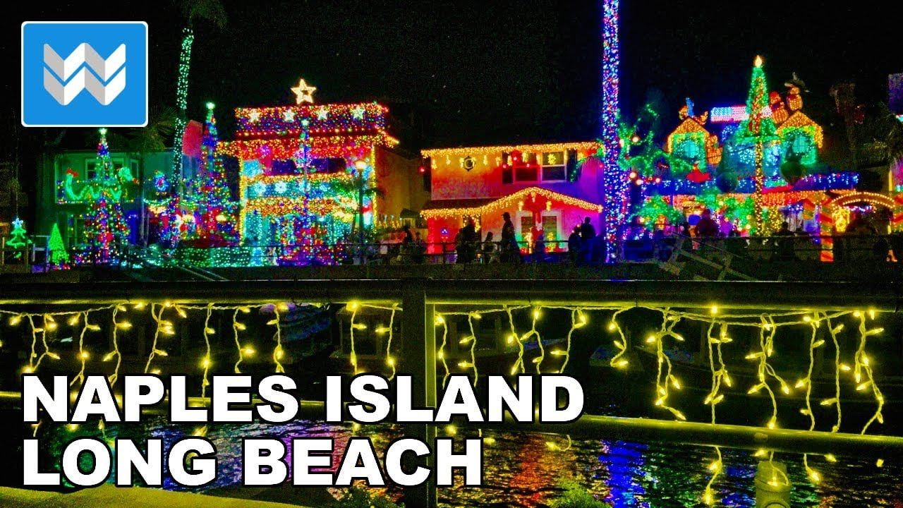 🎄 Magical Christmas Lights Display in Naples Island, Long Beach CA | Night Walking Tour 【4K】