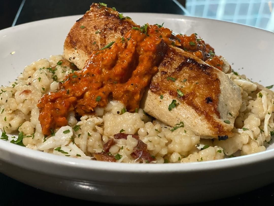 Special Entree of the weekend: Seared Mahi Mahi over crab and bacon couscous wit…