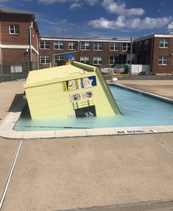 Winds Play Havoc With St. Francis Center Pools