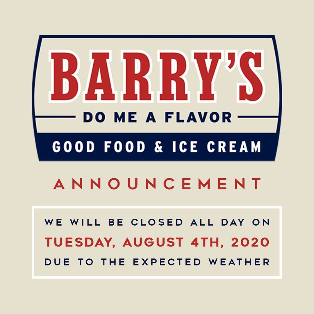Read more about the article Barry's will be closed TOMORROW (7/4) due to the expected weather  Stay dry! •  …