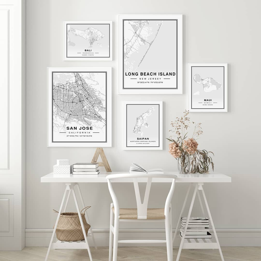 High detailed black and white map prints  Shipping for US, Canadian and Australi…