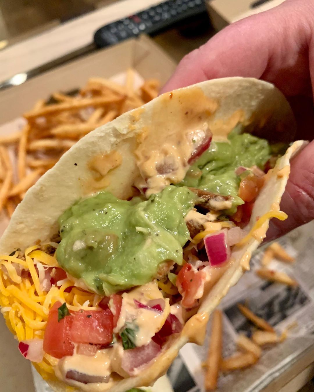 LBI 8.14.2020 – It's not vacation without tacos! Jerk chicken with cheese, pico de g…