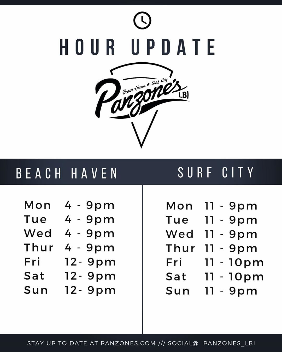 LBI As the summer winds down we have updated our hours at both locations            …
