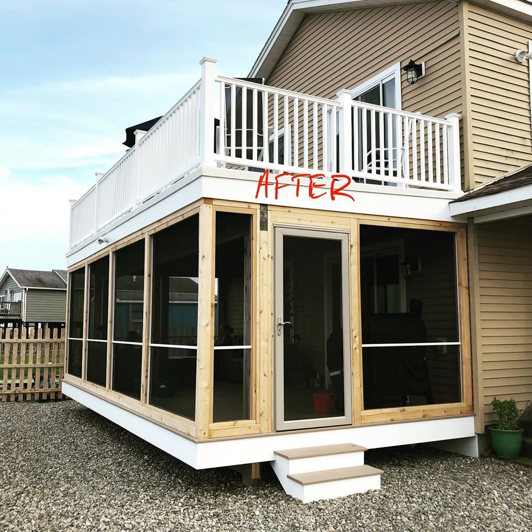 LBI Before and after pictures of a recent backyard renovation. The upper deck was co…