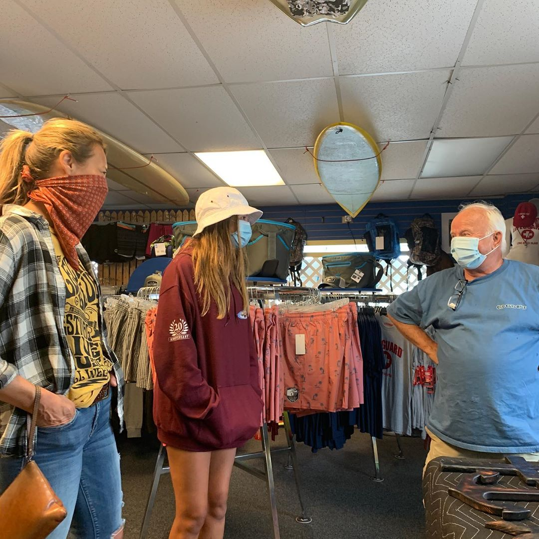 LBI Chuck talking advice on surf and art  today in the shop…