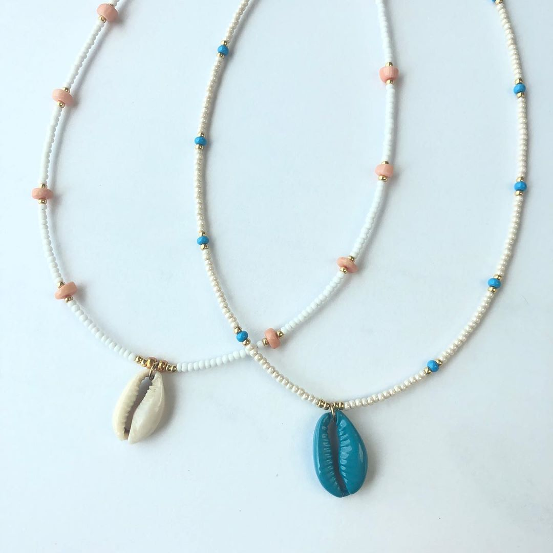 LBI Cowrie shell with semiprecious and Czech glass beads. Hand crafted on LBI in the…