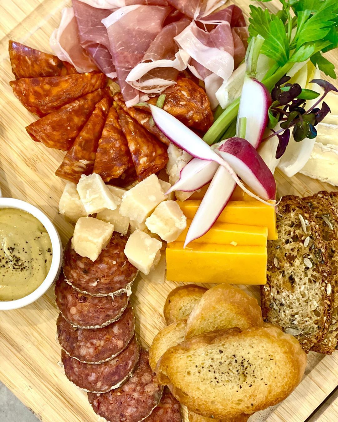 LBI Cured meats & cheeses for two (from  ) w/ Dijon, radishes, celery & toasted bagu…
