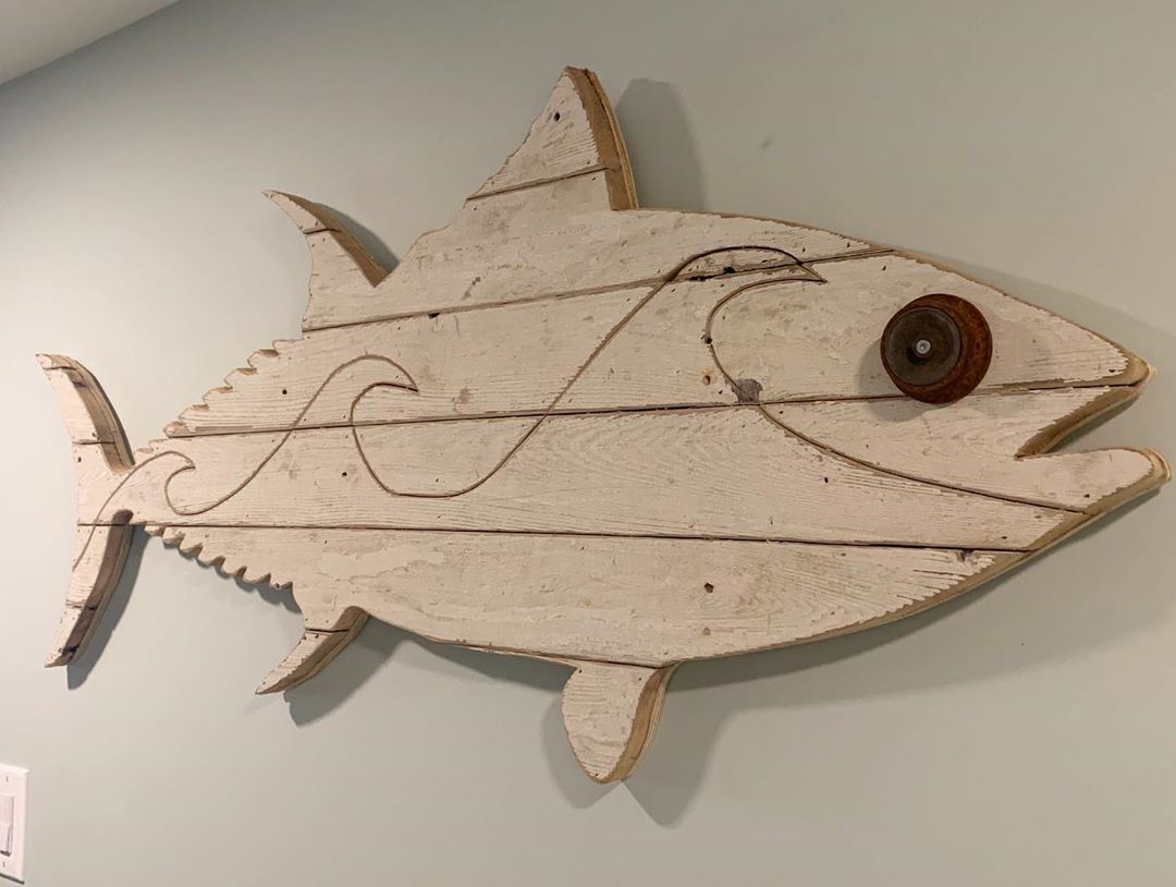 LBI For sale! Bluefin tuna with waves. Made using reclaimed cedar fence from Surf Ci…