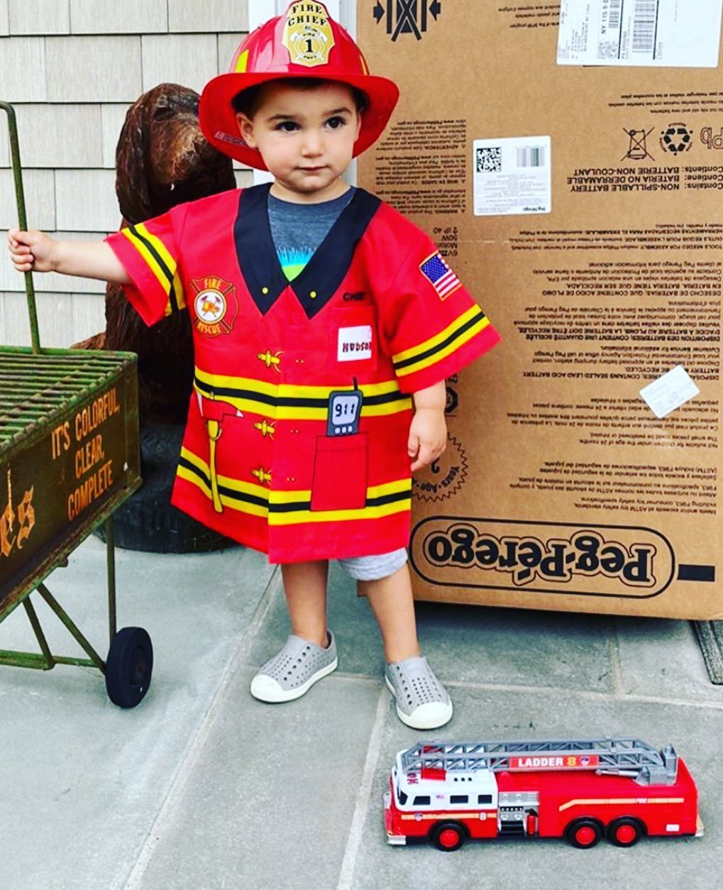 LBI Personalized fire hat, fire shirt and FDNY fire truck with lights, sound and exp…