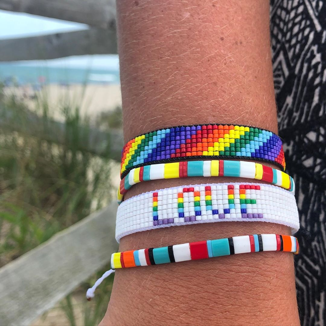 LBI Rainbow Love woven bracelet on a loom. Available for sale or take a workshop to …