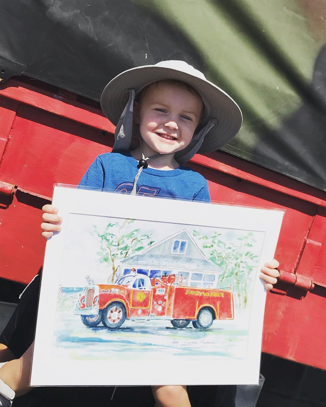 LBI SURF CITY FIRE CO print with a side of cuteness!  Numbered print donated by SC a…