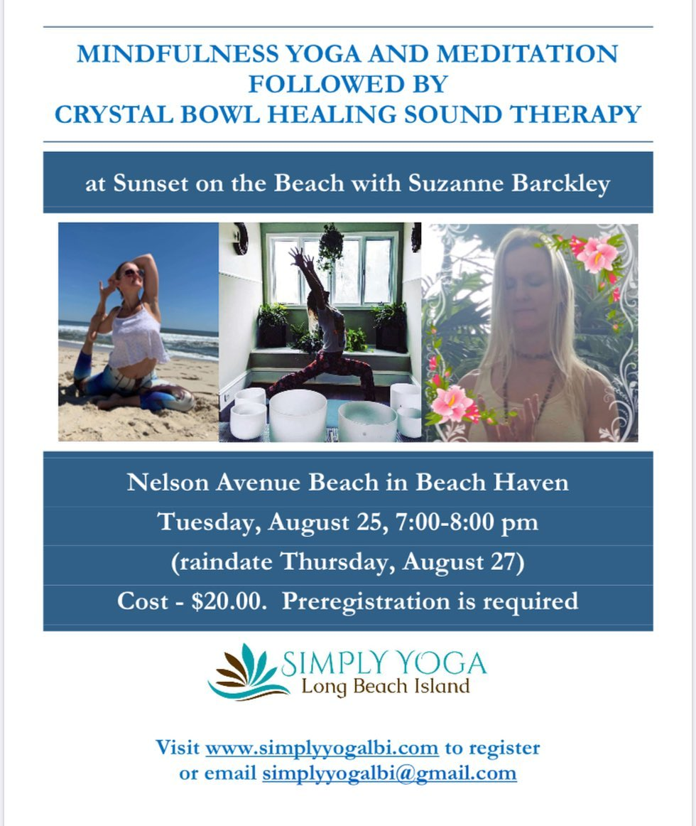LBI Sunset Meditation, yoga and crystal sound bowl healing, Tuesday August 25, 7:00-…