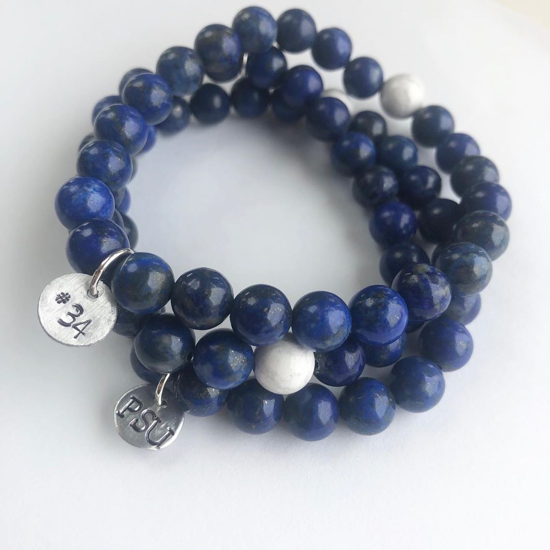 LBI We are……Penn State.  Custom bracelets in lapis and a hint of white with a ha…
