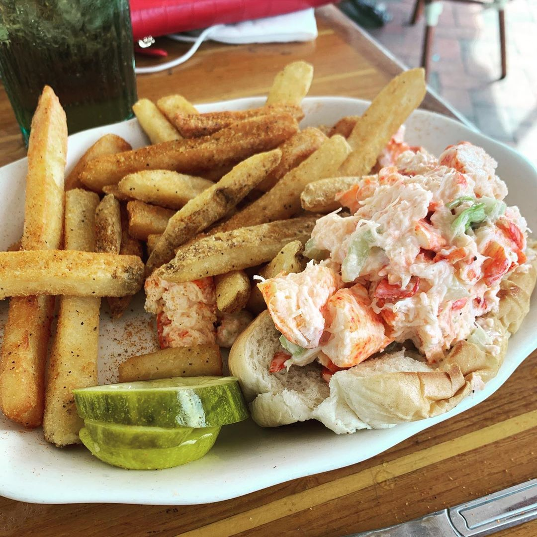 LBI &&& another one from @bluewatercafelbi : lobster roll w| old bay fries   . . . ….
