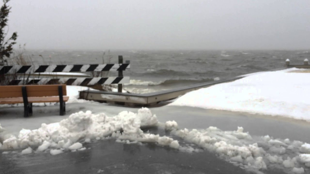 Scenes of Barnegat Bay near Long Beach Island during the winter storm