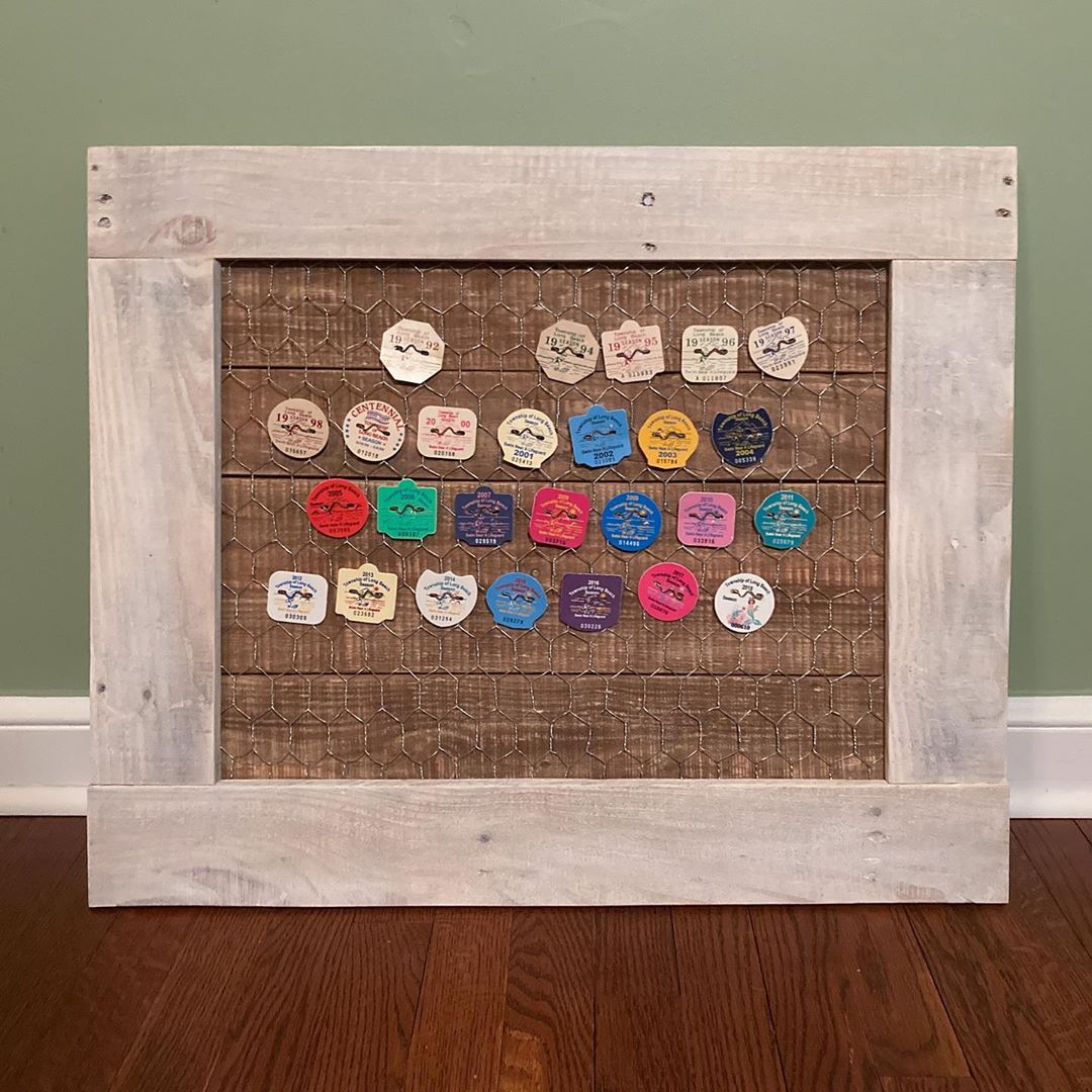 LBI Beach badge display. Pallet boards and chicken wire.             …