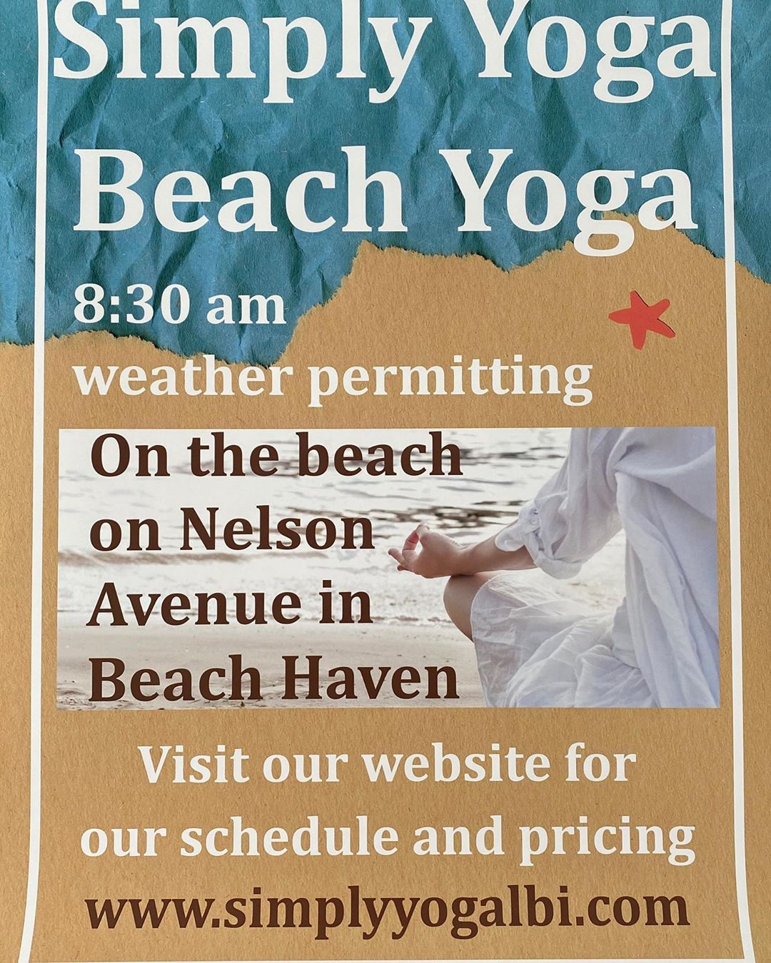 LBI Daily beach yoga on the beach on Nelson Avenue in Beach Haven through Labor Day….