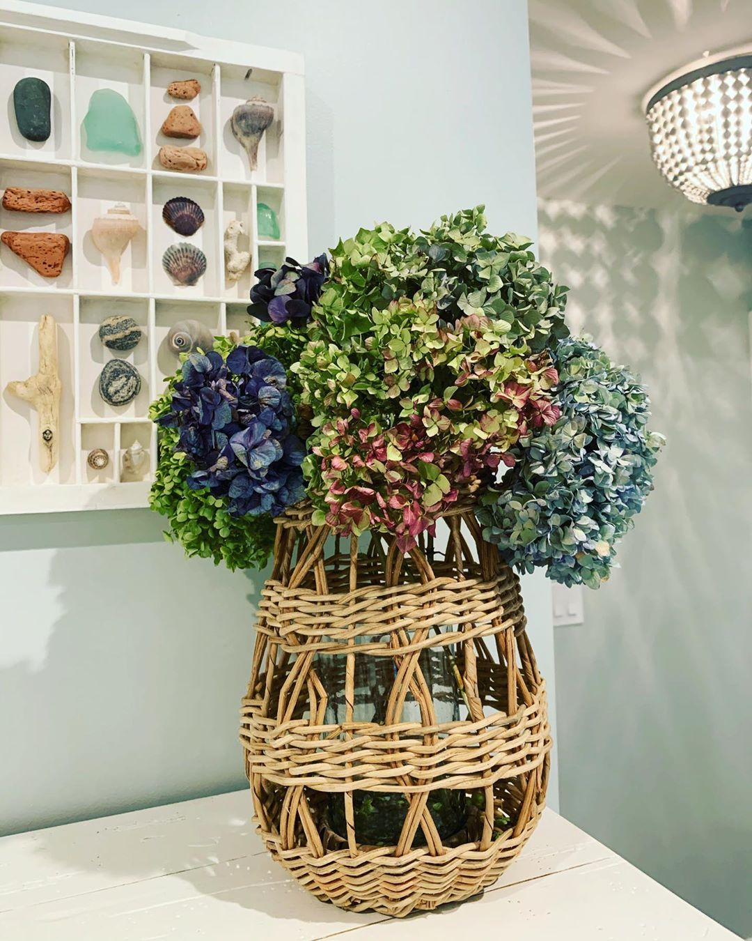 LBI Dried Hydrangeas from my garden .. All the colors are  The basket is from   in L…