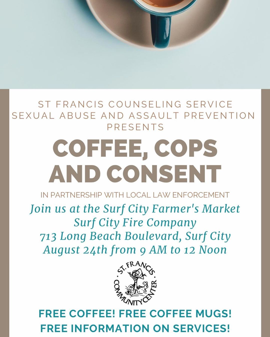 LBI FREE COFFEE??!!…Join St Francis Counselling Service, Sexual Abuse and Assault …