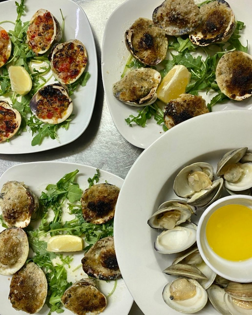 LBI Fresh  clams three ways? Yes please! Here we have baked clams, clams casino and …