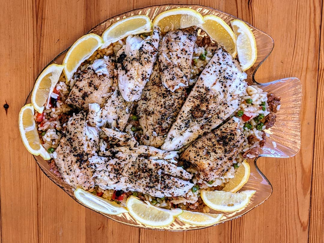 LBI Fresh local Flounder over Risotto and Veggies.    …