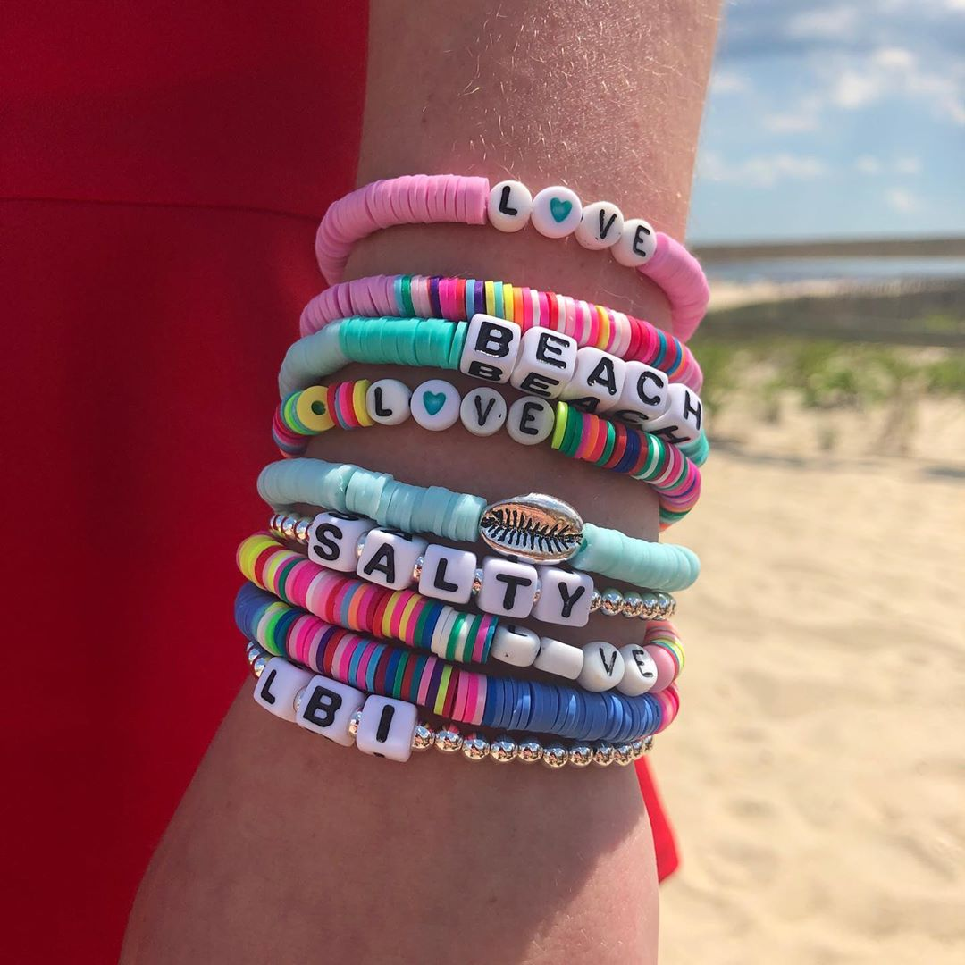 LBI Fun beaded word bracelets. We make all beaded jewelry on LBI in USA . Strands of…