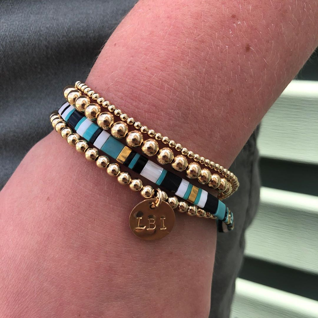 LBI Gold filled beaded bracelets with a geometric tila bracelet.  Create your own……