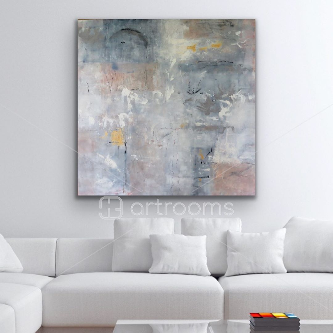"""LBI """"Introspective"""" 36″x36″ shown in your white living space. SOLD              …"""