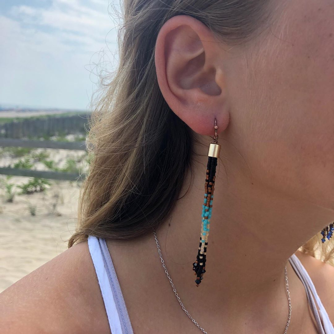 LBI Love these tassel earrings! Hand beaded on LBI in the USA ! Open today in Beach …