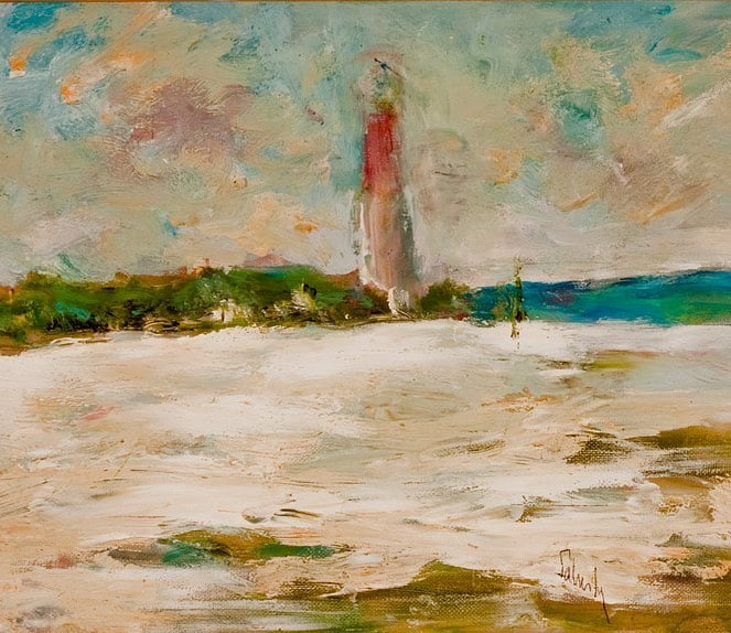 "LBI On this last Sunday of Summer we feature ""Barnegate Light"" by Pennsylvania Impre…"
