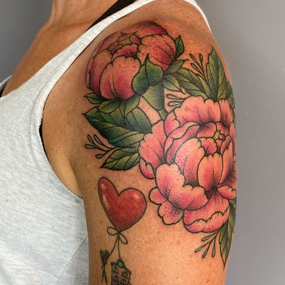 LBI Peonies drawn on with marker and tattooed to fit her growing collection. These p…