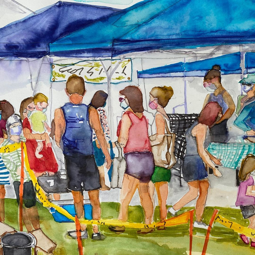 "LBI ""Surf City Farmers Market "" was a bustling experience this Monday. Watercolor sk…"