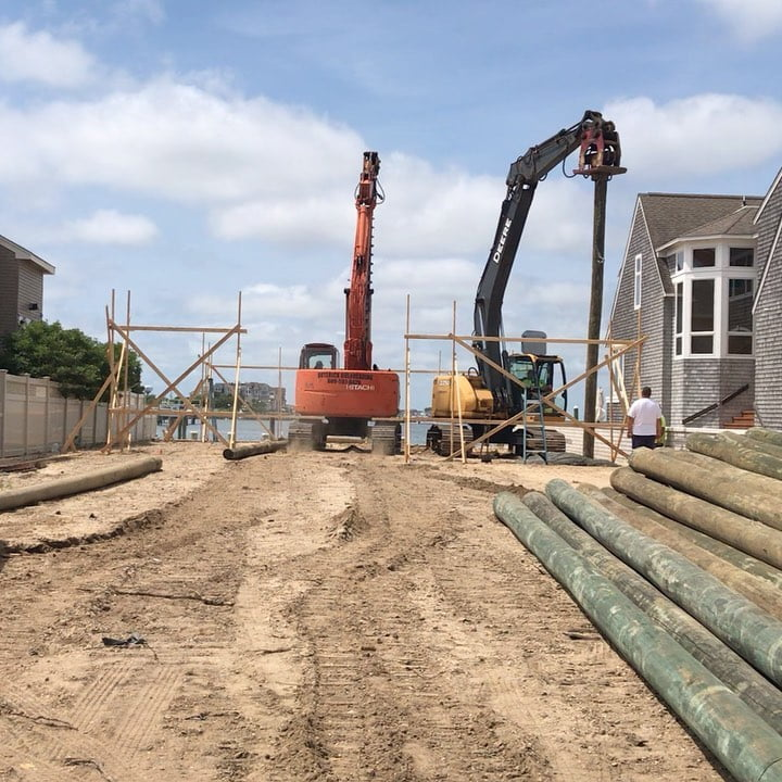 LBI The Installation of (40) 45' foundation pilings for a future new home is underwa…