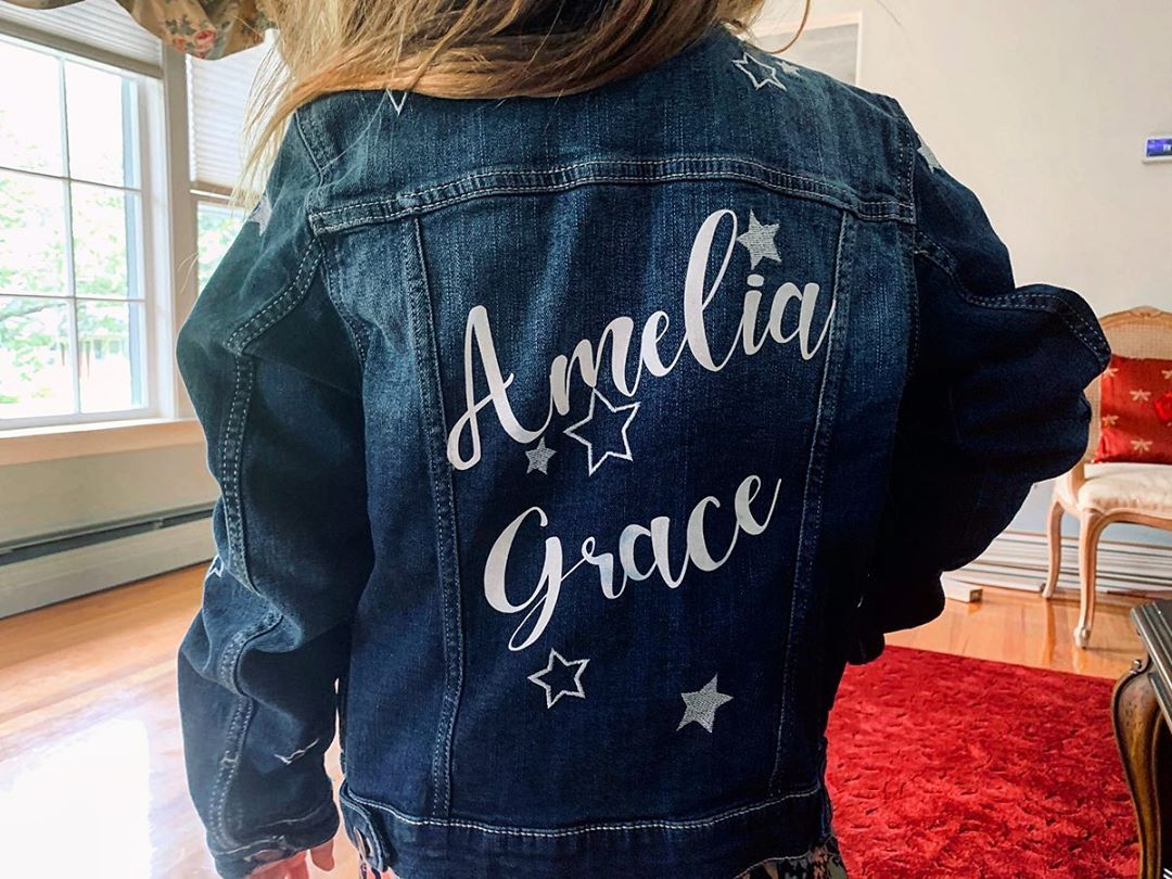 LBI This chick is ready for the cool weather in her new Personalized Jean Jacket    …