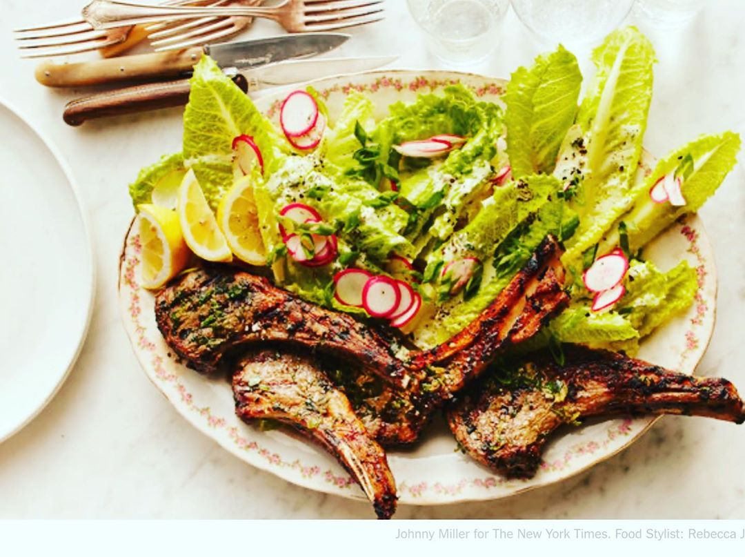 LBI WHEN LAMB CHOPS MEET ROMAINE….this was delish, especially with the yogurt in t…