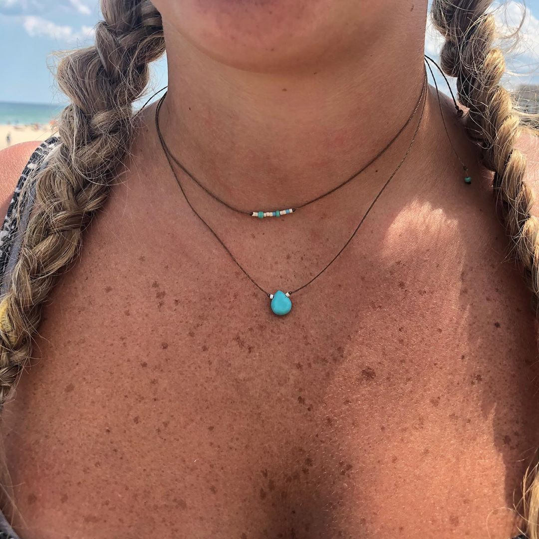 LBI Waterproof and adjustable jewelry. LBI in Morse code and turquoise drop necklace…
