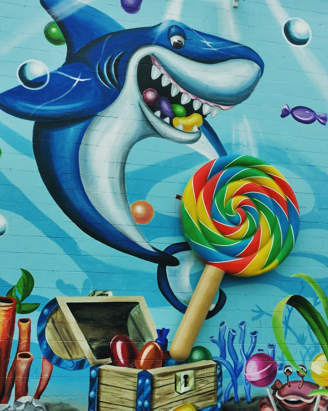 LBI Giant shark mural. Guess he has a sweet tooth         …