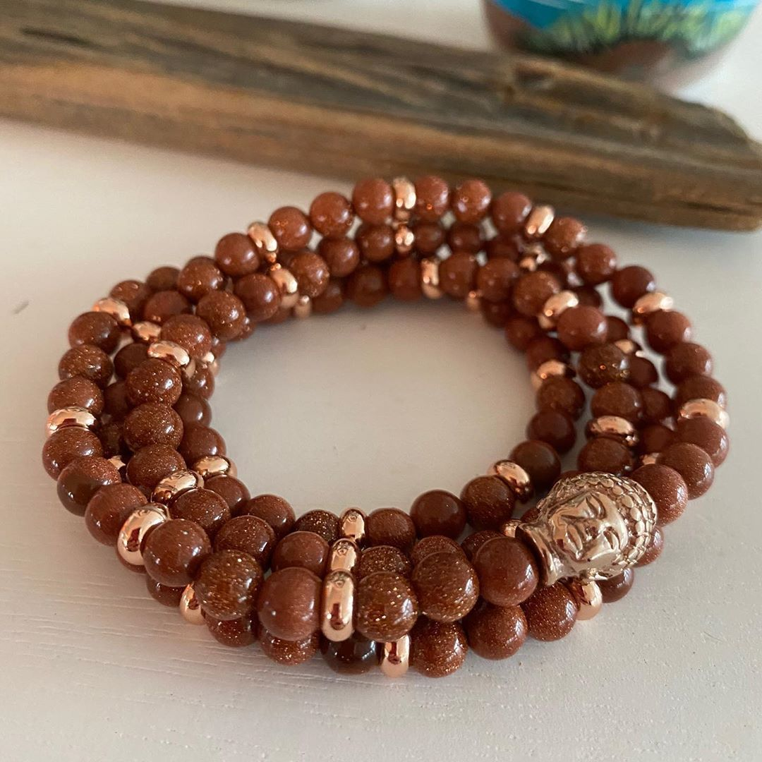 LBI Loving my new sparkly goldstone malas.  Red goldstone with rose gold spacer bead…