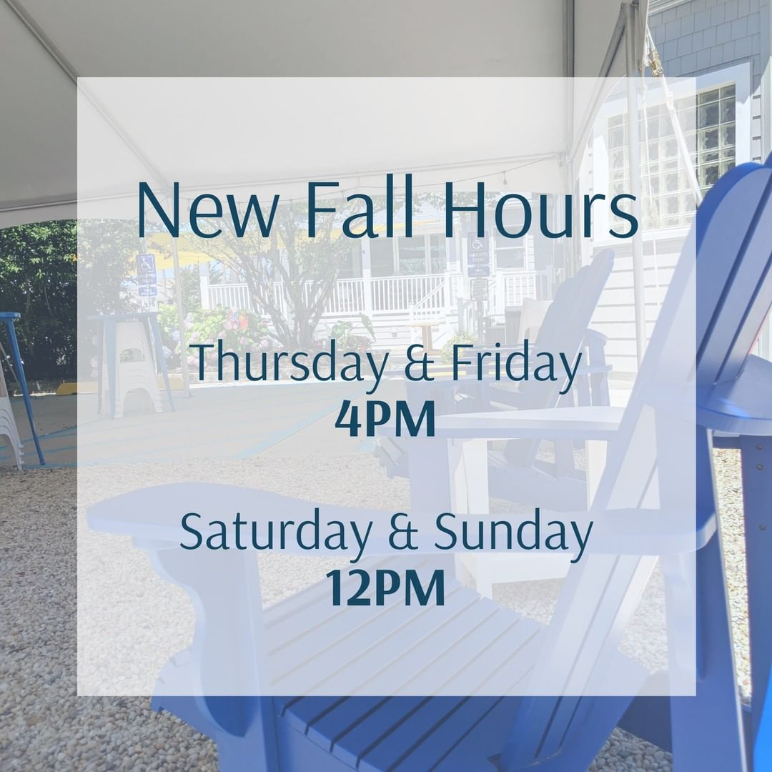 LBI New Fall Hours! The Bistro is open Thursday and Friday at 4PM, Saturday and Sund…