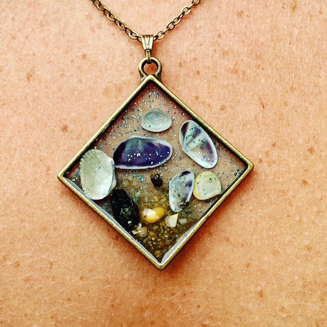 LBI   Wearing reminders of what you love. Beautiiful handmade necklace with shells f…