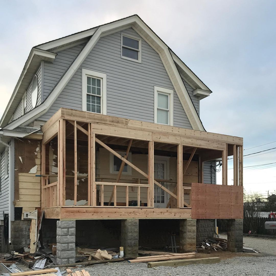 LBI Framing of a new addition underway in Ship Bottom….