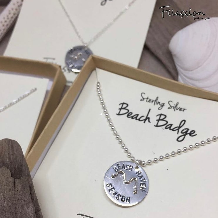 LBI This Sterling Silver Hand Stamped Beach Badge Necklace is the perfect necklace t…