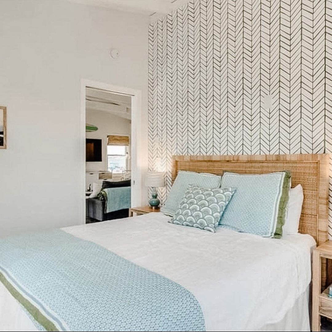 LBI Bedroom. Sources: Headboard, wallpaper and linens: Serena and Lily Lamps, plante…
