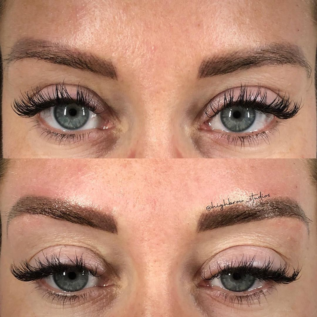 LBI Chocolate-y brown powder touch-up over this healed combo brow.. how gorgeous are…